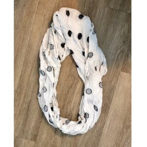 White and navy polka dot infinity scarf!